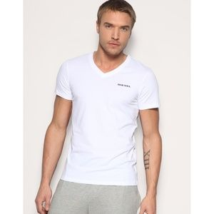 NWT DIESEL White V-Neck Modal Stretch Tee Shirt